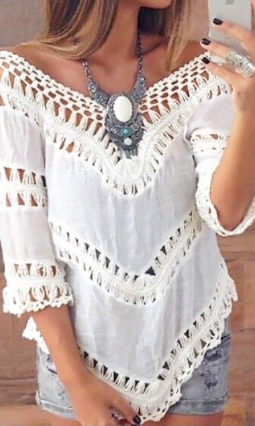 Boho chic V-Neck Top with gypsy style crochet embellishments for a modern hippie look. For the BEST Bohemian fashion inspo FOLLOW https://www.pinterest.com/happygolicky/the-best-boho-chic-fashion-bohemian-jewelry-gypsy-/ now