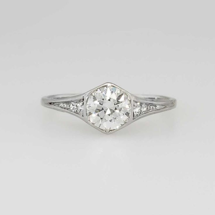 Beautiful Timeless .70ct tw. Art Deco Old Diamond Engagement Ring 18k | Antique & Estate Jewelry | Jewelry Finds Price: $3050.00   This engagement ring from the Art Deco era is so elegant and perfect, it's going to be hard to part with! A beautiful G-H color, VS2 clarity .62ct Transitional-Old European cut diamond is safely milgrain bead bezel set in a bead set round brilliant cut diamond adorned mounting made in 14k white gold