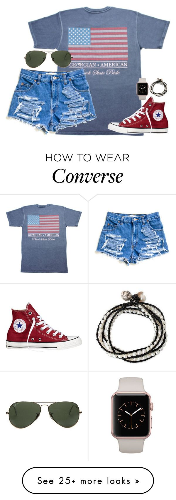"""stay determined"" by kaley-ii on Polyvore featuring Converse, Ray-Ban and NOVICA"