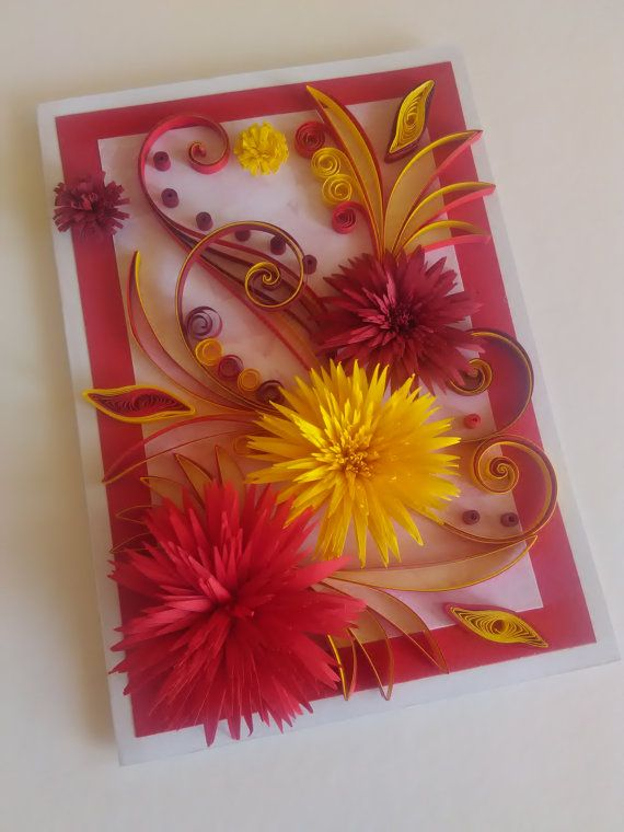 Beautiful stylish Quilling card for birthday, congratulation or all occasions wirh wonderful red flower. Card size is 120x170 mm. Card designed to sit vertically. It has a white box with ribbon. Each cards package carefully to ensure a save delivery. I will send the card with