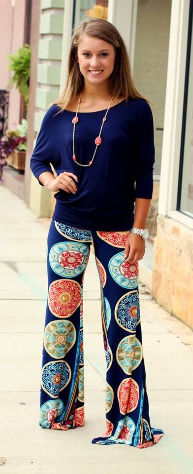 """Penny"" Palazzo Pants in Navy.  $36.99.  Shown with our famous Navy Dolman top ($16).  Available at 105 West Boutique in Abbeville, SC.  (864) 366-WEST."