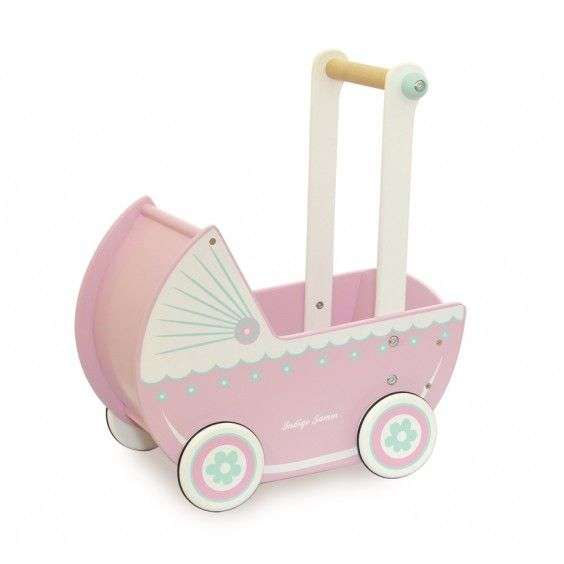 Ooooh, we just love Indigo Jamm's wooden Loxhill Pram. So stylish! It fits dolls up to 25cm, and is sure to provide hours of imaginative play #dolls #IndigoJam #Christmas2014