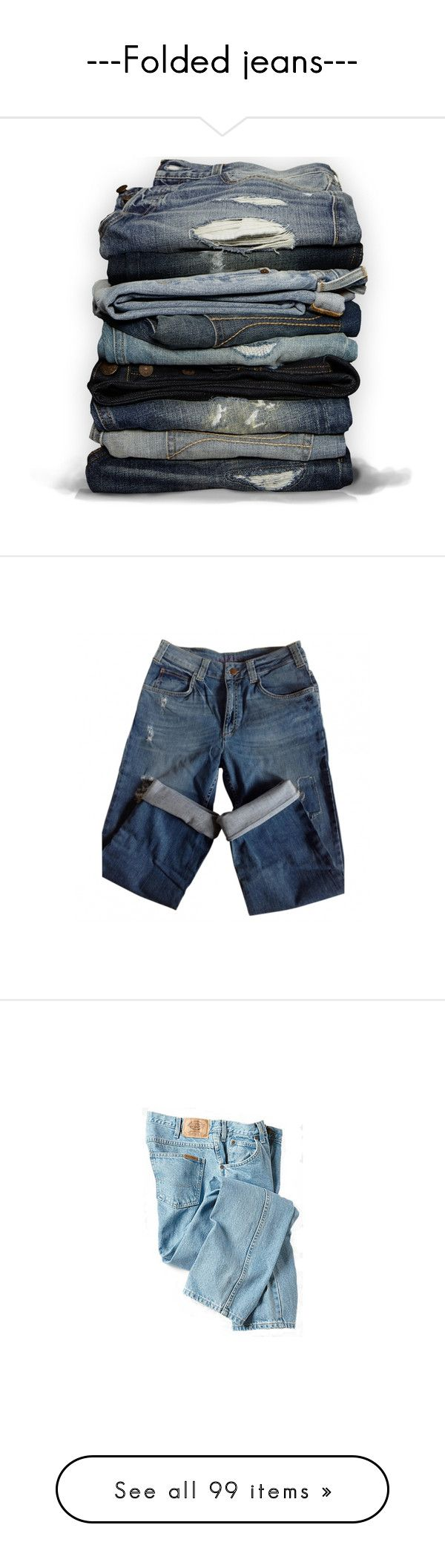 """---Folded jeans---"" by centurythe ❤ liked on Polyvore featuring jeans, pants, bottoms, fillers, blue jeans, hollister co jeans, hollister co., checkered jeans, trousers and boyfriend jeans"