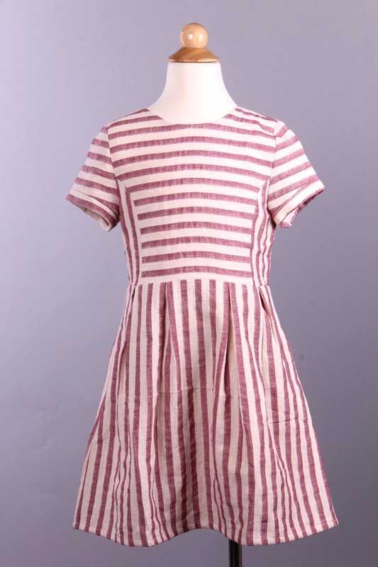 Tea N Rose Mixed Stripe Dress with Pockets for Girls YID50064