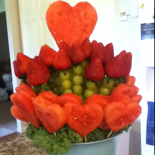A fruit bouquet of green grapes, strawberries and watermelon for our school volunteer appreciation lunch.