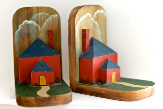 Farmhouse Bookends  Rustic Hand Painted Wood by Binknits on Etsy