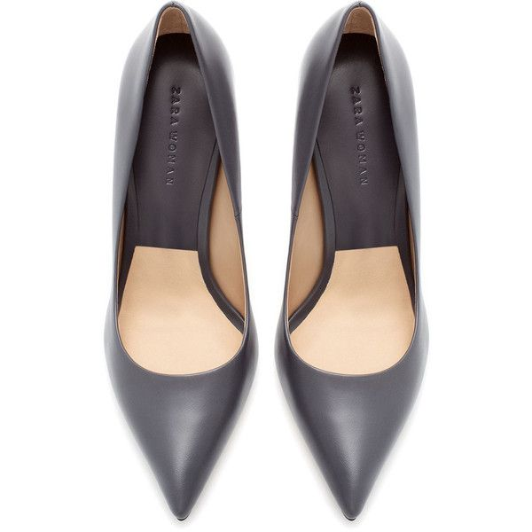 Zara High Heel Leather Court Shoe With Pointed Toe ($40) ❤ liked on Polyvore featuring shoes, pumps, heels, zapatos, zara, grey, leather pointed toe pumps, gray shoes, pointed-toe pumps and leather pumps