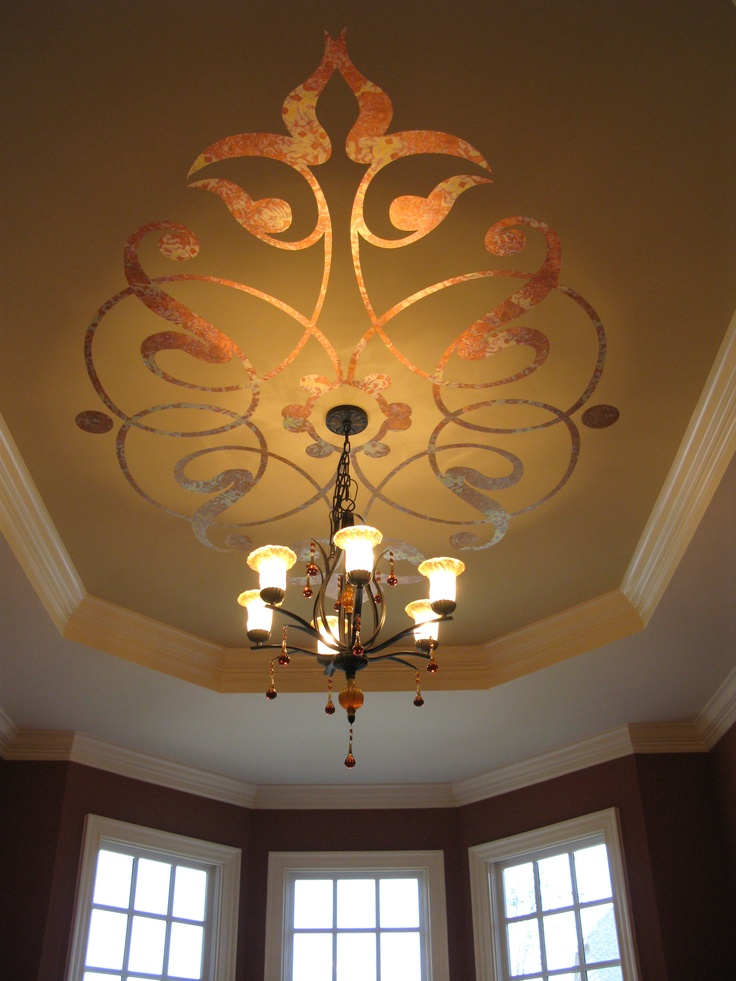 Artist Lauren Gaines Modello Lication With Variegated Leaf Gold Ceilingceiling Artceiling Ideasceiling Designpainted Ceilingstray Ceilingsstencil
