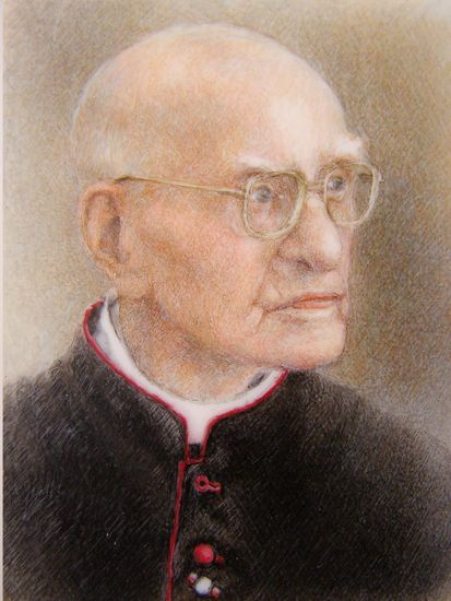 "priest Wacław from ""The Cross"", watercolor on ivorine"