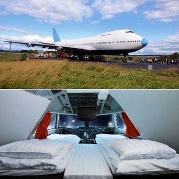 un avion-hôtel sur le tarmac de l'aéroport de stockholm-arlanda