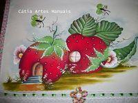 Catia Artes Manuais: PASSO A PASSO PINTURA CASINHA MORANGO COUNTRY