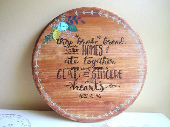 18 Quot Wood Burned Lazy Susan Scripture Home Decor
