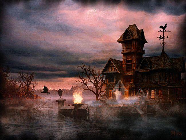 Мрачная картинка ночного пейзажа - Пейзажи - Анимация - Галерея картинок и фото