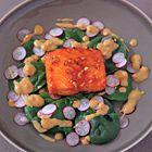 Een heerlijk recept: Gordon Ramsay: geglaceerde zalm met spinazie-radijssalade