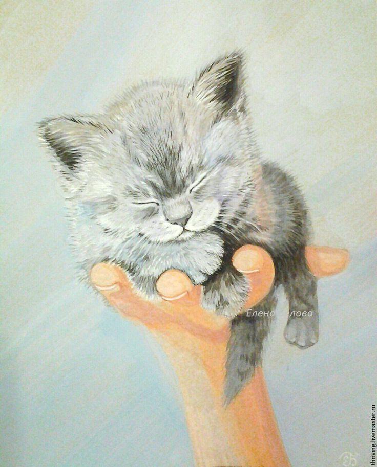 """Картина """"Чудо на ладошке"""" - автор Елена Белова. Картина в спальню, картина с котенком, серый котенок, нежная картина, серая картина, подарок любителю кошек и котят"""