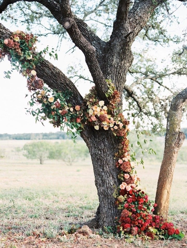 Love this Fall wedding ceremony idea! photo: Taylor Lord