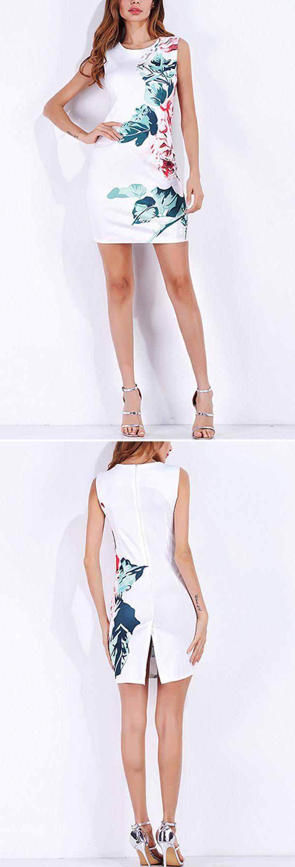 US$23.38 Elegant Floral Print Bodycon Sleeveless O-neck Women Mini Dress