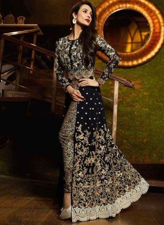 Malaika Arora Khan Black Embroidery Work Georgette Anarkali Bollywood Suit        #Anarkali #Churidar #Pakistani #Suit #Salwar #Bollywood       http://www.angelnx.com/Salwar-Kameez