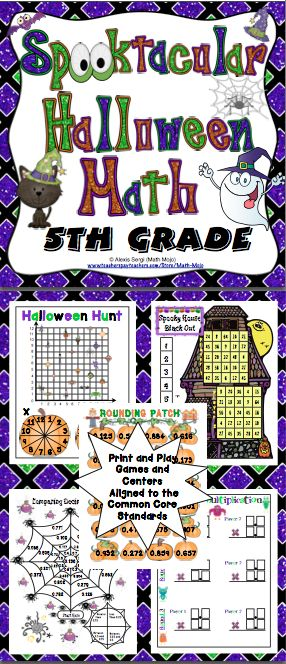 Halloween Math (5th Grade): Your students will have a blast with this Spooktacular set of 10+ Halloween games and activities. They make great centers, individual, small group, or whole class activities! All activities are aligned to the Common Core Standards! Also available for 3rd grade and 4th grade. $