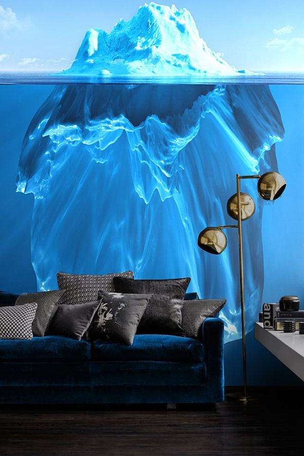 Glacial Blue & Turquoise Motifs - Wall Mural