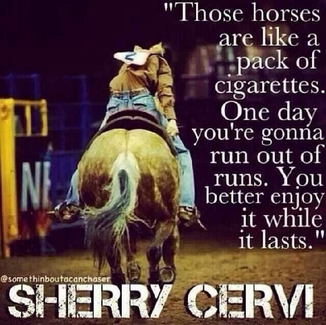 Amen! I'd change it to chocolate or wine but either way this is all too true. Not looking forward to not having a horse for a while....