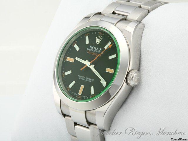 Rolex MILGAUSS STAHL GRÜN REF.: 166400 GV HERRENUHR