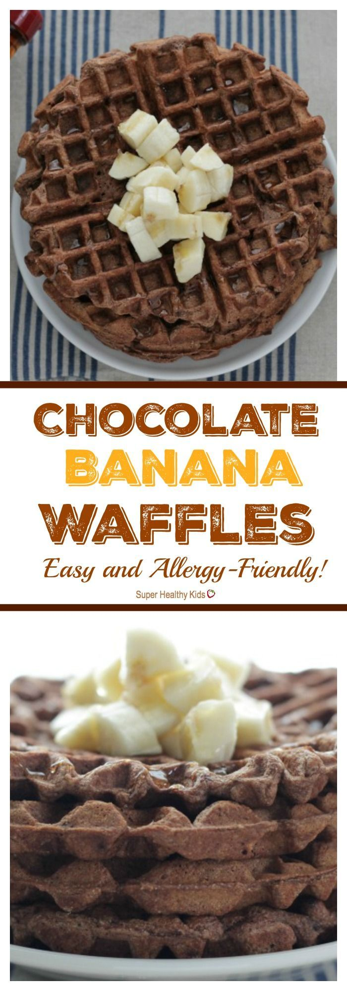 FOOD - Healthy Chocolate Banana Waffles. A MUST have recipe! http://www.superhealthykids.com/chocolate-banana-waffles-easy-allergy-friendly/