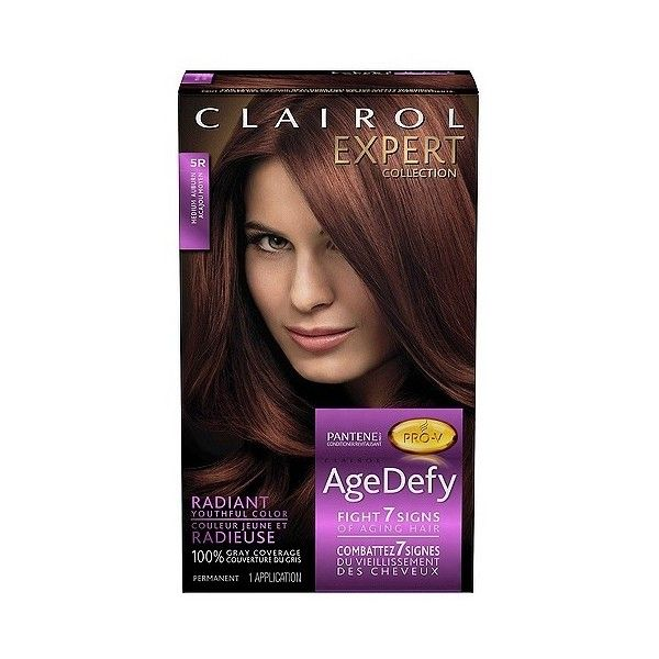 Clairol Expert Nice 'n Easy Age Defy Permanent Hair Color 5R Medium... ($8.99) ❤ liked on Polyvore featuring beauty products, haircare and hair color
