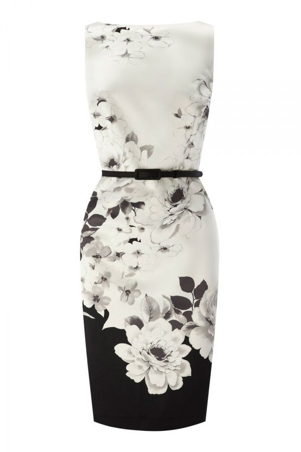 Women's Fashion Clothing: Clothes: NoeMie Women Black, White and Grey Floral Print Casual Dress: Dresses