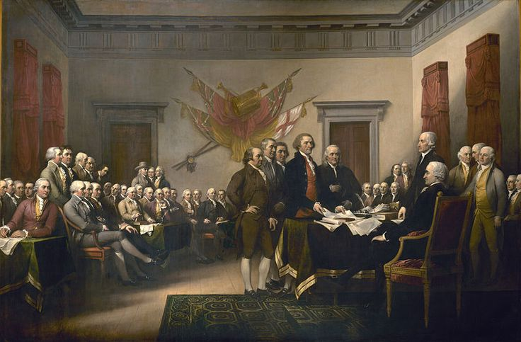 This depiction of the Declaration of Independence is a painting by John Trumbull. It shows the five-man drafting committee presenting their work to the Congress. The painting hangs in the U.S. Capitol rotunda.