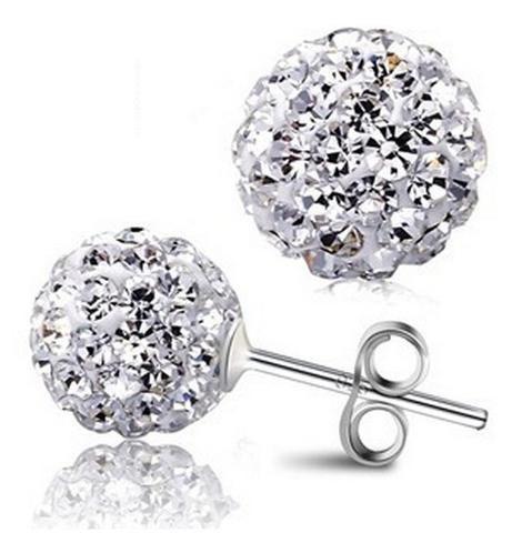 Shambala Austrian Crystal Ball Stud Earrings 925 Sterling Silver www.zapppedjewelry.com