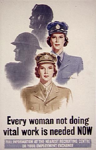 British Propaganda: This poster called for the conscription of women in the military because the military needed for workers. It targeted many women who were married or single. Help Us Salute Our Veterans by supporting their businesses at www.VeteransDirectory.com and Hire Veterans VIA www.HireAVeteran.com Repin and Link URLs