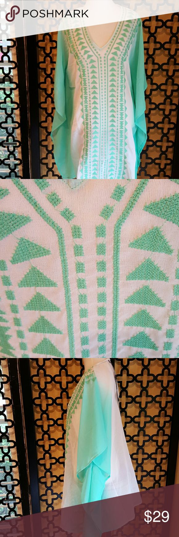 MINT INDIE COVERUP TUNIC NWT. NO FLAWS. MEASUREMENTS: bust is 32. Length is 34 inches. Beautiful stiched pattern. I would wear with white jeans as well!! spiaggia dolce Swim Coverups