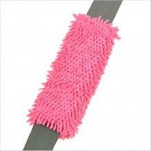Adds soft comfort to the seat belt shoulder strap - Shaggy Pink car seat belt shoulder pad.