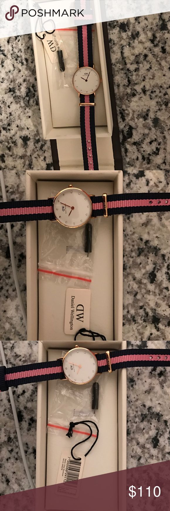 """Daniel Wellington/ classy style """"winchester"""" Pink and blue band, little crystals on the inside, 26mm never worn. (I can be a little bit more flexible with the price, but since it is brand new I am not willing to go much lower) Daniel Wellington Accessories Watches"""