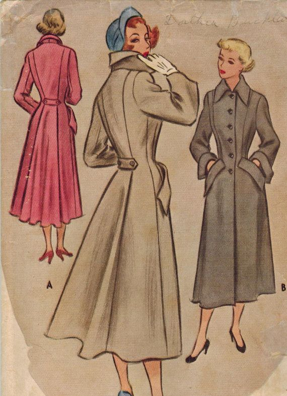1940s McCall 7776 Vintage Sewing Pattern Misses Tailored Coat Size 12 Bust 30