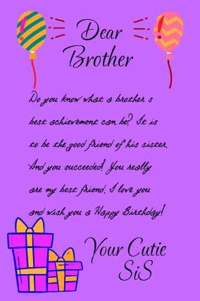 Happy birthday letter for brother from sister with birthday