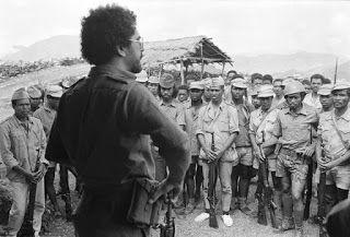 FRETILIN leader Ramos-Horta, speaks to troops (1975).