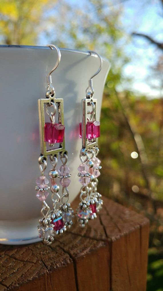 Pink and fuchsia Swarovski crystal Chandelier