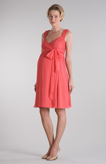 Straps Crinkle Chiffon Pink Short Maternity Post Pregant Bridesmaid Dress| OKmarket.com