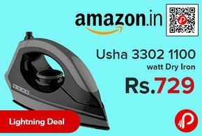 Amazon #LightningDeal is offering 27% off on Usha 3302 1100 watt Dry Iron at Rs.729 Only. 1100 watt power for quick heating, Button groove for easy ironing under buttons, 360 degree swivel cord for easy operation, ISI mark for best product quality and safety of use.  http://www.paisebachaoindia.com/usha-3302-1100-watt-dry-iron-at-rs-729-only-amazon/