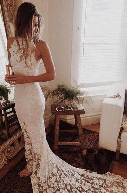 mermaid long lace wedding dress, 2016 wedding dress,fall wedding dress, bridal gown
