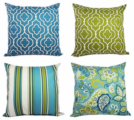 love these;)    —    Two Pillow Covers Blue and Green - 20 x 20 Inch Decorative Throw Pillow Cover - Moroccan Trellis Pillow - Quatrefoil Pillow - Accent Pillow