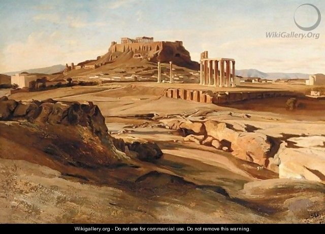 Carl Neumann (1833-1891): View Of The Acropolis From The Elissos River