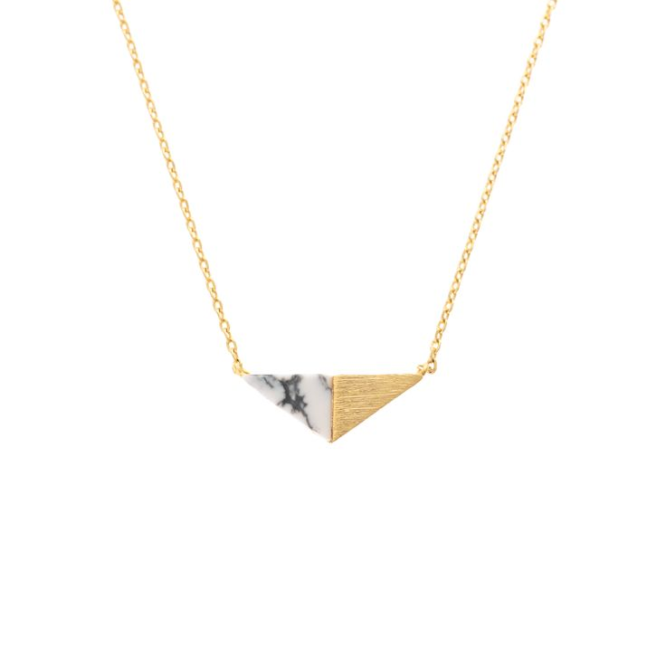 Buy the Leto Double Triangle Howlite Necklace at Oliver Bonas. Enjoy free worldwide standard delivery for orders over £50.