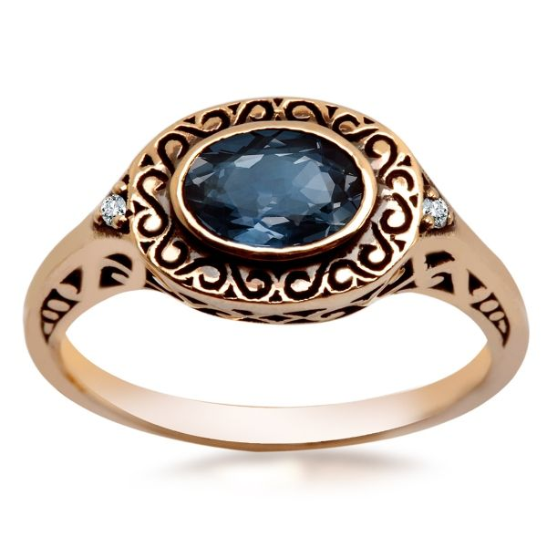 Kolekcja Wiktoriańska - pierścionek z brylantami i szafirem