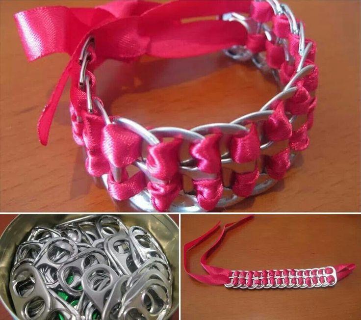 Early teen craft.  Soda can pop top bracelets