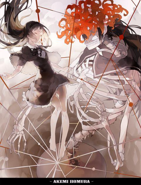 "Fanart of Akemi Homura ander her witch form Homulilly from the film ""Mahou Shoujo Madoka★Magica Movie 3: Hangyaku no Monogatari"" | Credit goes to nine on Pixiv"