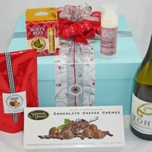Christmas Gift Baskets for women, Pamper Gifts.  Gift box with NZ wine, NZ handmade chocolates, 100% natural hydrating mask, lip balm, nail & cuticle creme.  NZ$85  #Auckland gift baskets, #Christmas gift baskets