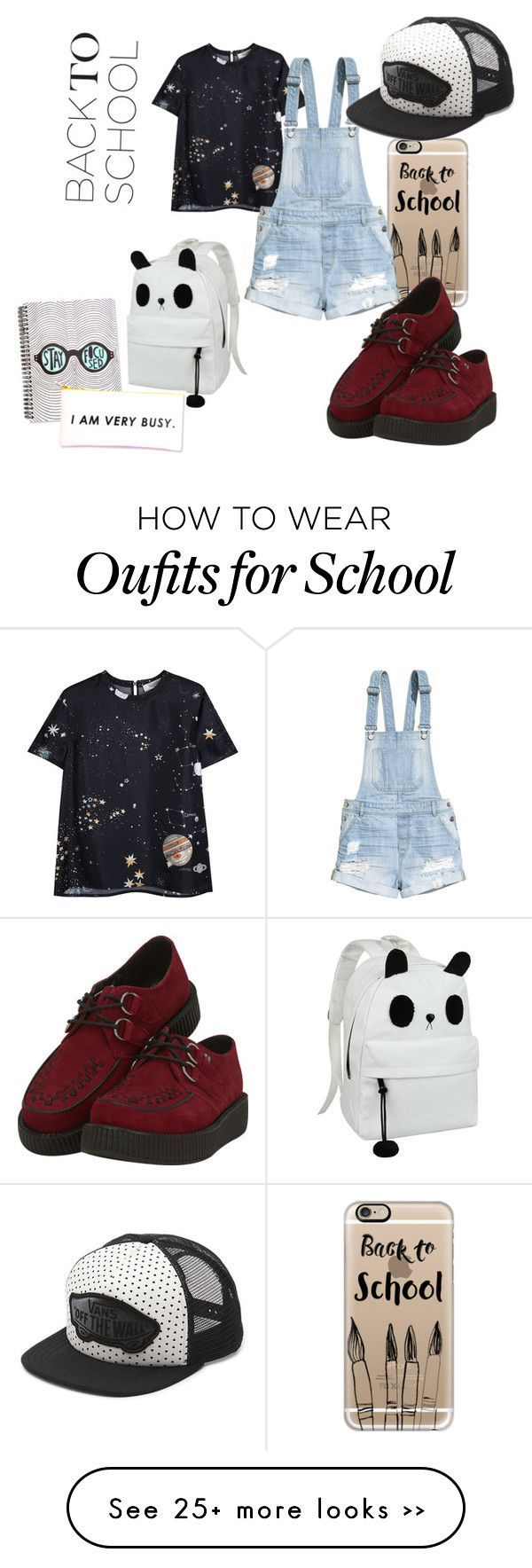 """back to school"" by nikrivers on Polyvore featuring moda, Casetify, Valentino, H&M, T.U.K., Vans, BackToSchool y shop"